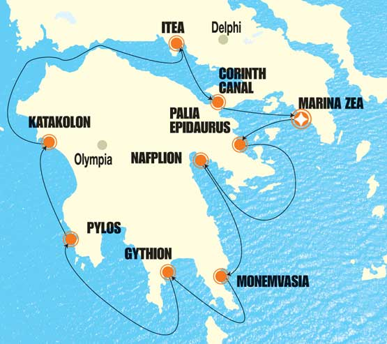Pelops Small Cruise Itinerary Map