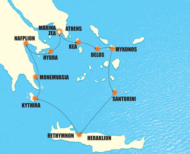 Proteus Small Cruise Itinerary Map