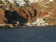 Approaching Santorini by ferry